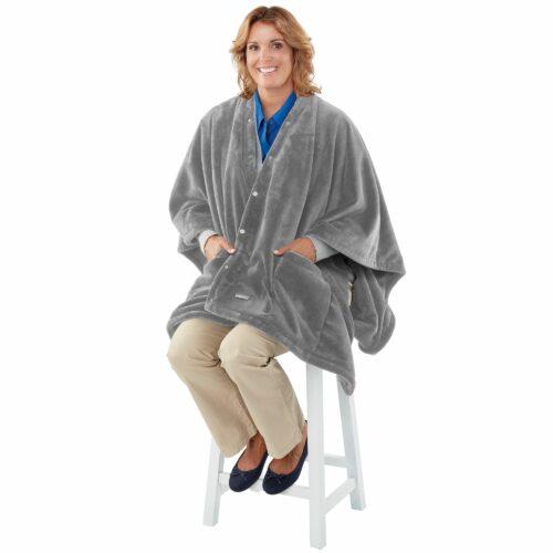 HOMEDICS 2in1 Wärmeumhang & Decke mit Heizfunktion und Vibrationsmassage