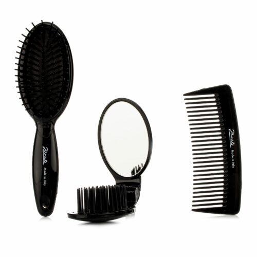 GIORGIO JÄNEKE Haarbürste & Kamm mit Reisebürste mit integriertem Spiegel