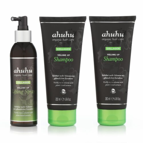 ahuhu organic hair care Collagen Volume Up Shampoo 2x 200ml & Lifting Spray 200ml