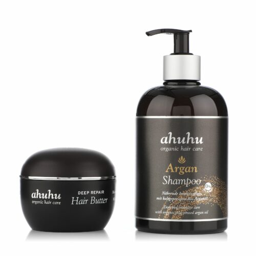 ahuhu organic hair care Argan Shampoo 500ml & Deep Repair Hair Butter 100ml