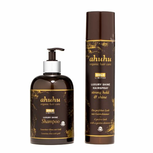 ahuhu organic hair care Gold Limited Edition Shampoo 500ml Haarspray 300ml