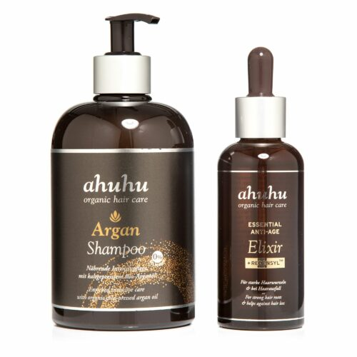 ahuhu organic hair care Argan Shampoo 500ml Essential Anti-Age Elixir 100ml