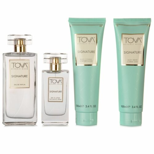 TOVA Signature Luxe-Set Eau de Parfum Duschgel, Bodylotion Dry Oil Spray, 4tlg.