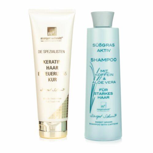 MARGOT SCHMITT® Süßgras Aktiv Shampoo 350ml & Keratin Haar Erneuerungskur 250ml