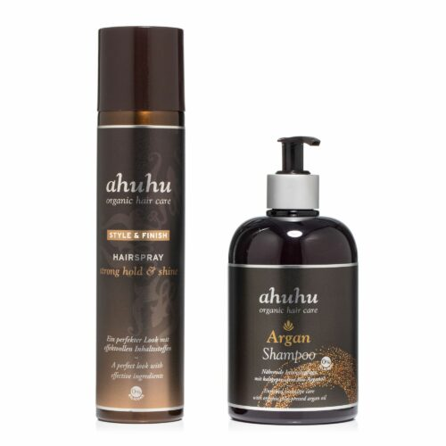 ahuhu organic hair care Argan Shampoo 500ml Hairspray strong hold & shine 300ml