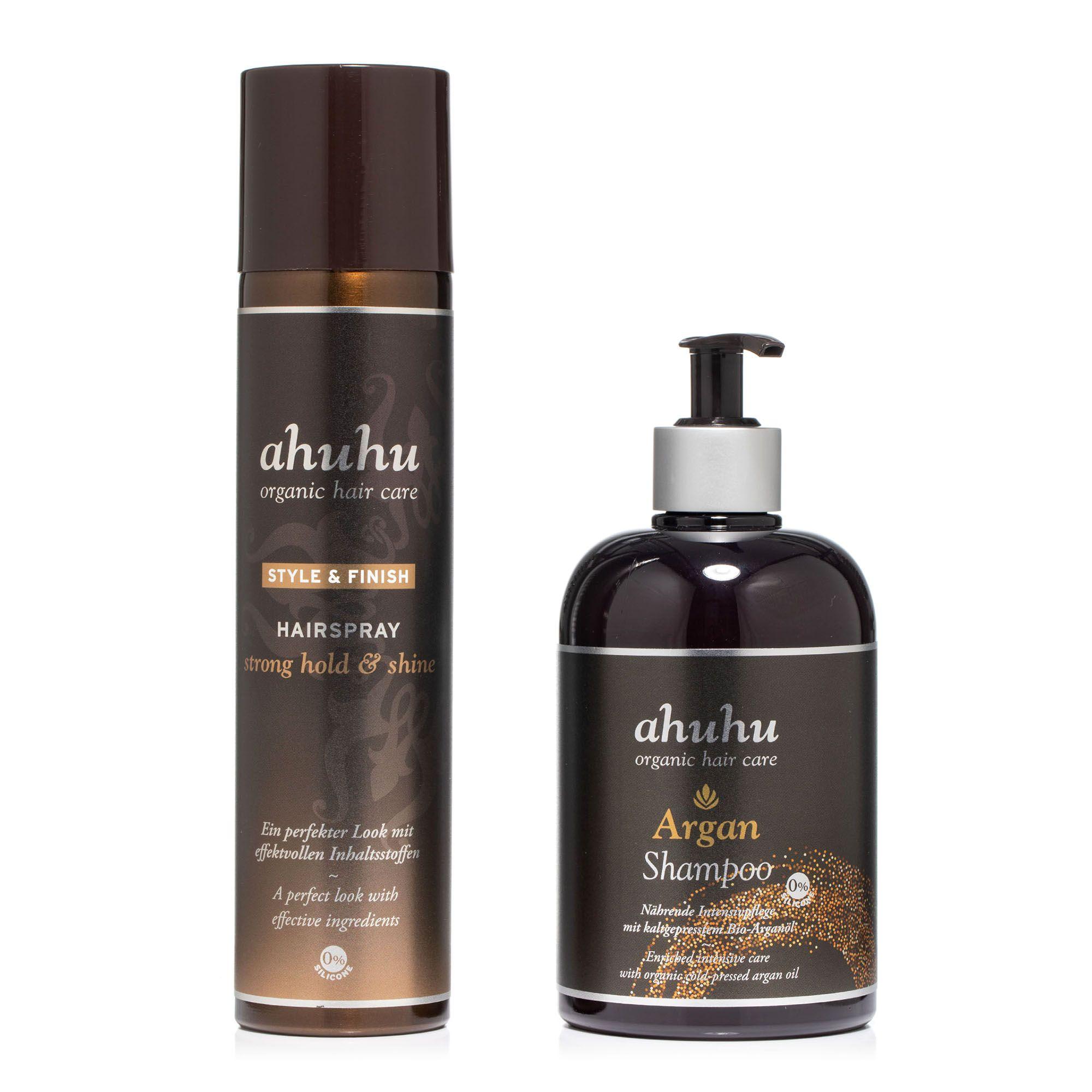 ahuhu organic hair care Argan Shampoo 500ml Hairspray strong hold & shine 300ml