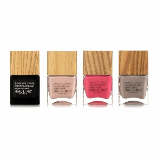 NAILS.INC® Nagellack-Set Plant Power Farblacke 3x 14ml Top Coat 1x 14ml