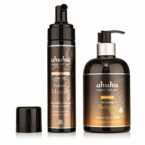 ahuhu organic hair care Coffein Shampoo 500ml Pop Up! Volume Mousse 200ml