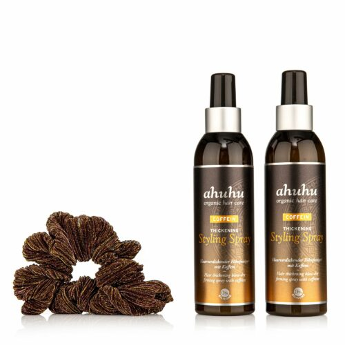 ahuhu organic hair care Coffein Thickening Styling Spray 2x 200ml, Scrunchie