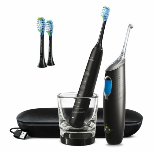 PHILIPS Diamond Clean Schallzahnbürsten-Set inkl. Travelcase & AirFloss Pro/Ultra HX8494/03