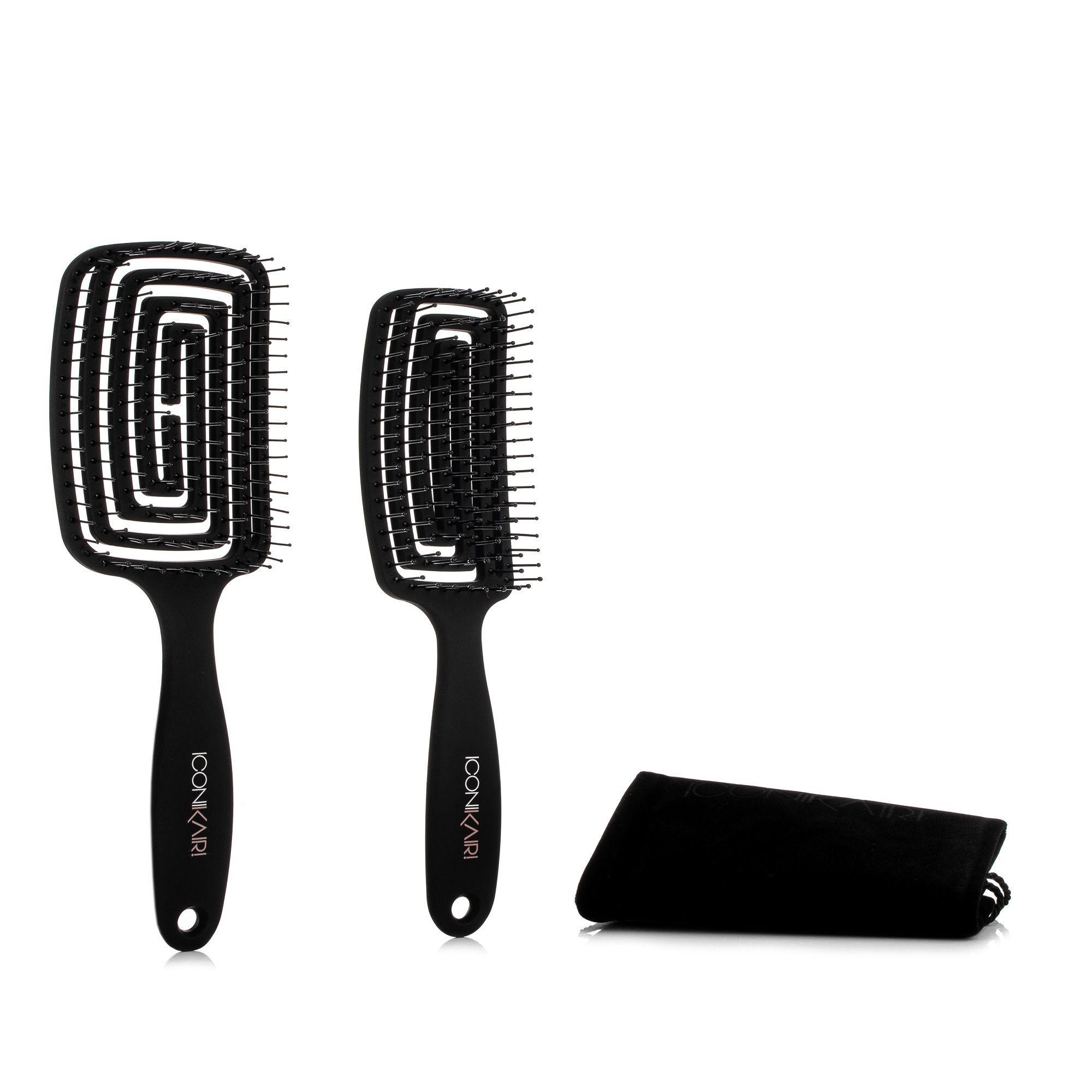 ICONIKAIR Duo Classic-Set 2 Haarbürsten für volleres Haar inkl. Travel-Samtbeutel