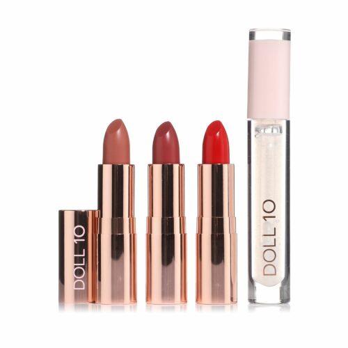 DOLL 10 BEAUTY Lippen-Set Day to Date Lippenstift 3x 3,7g Lip Gloss 3,4ml