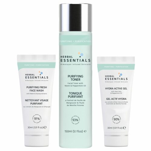 HERBAL ESSENTIALS Klärendes-Trio Gesichtwasser 150ml, Reinigungsgel 30ml & Aktiv Gel 30ml