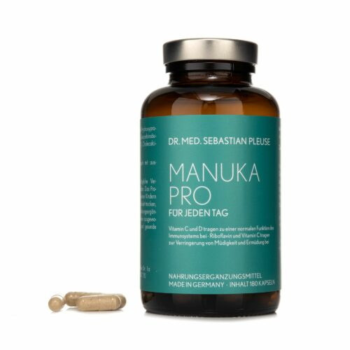 Dr. med. Sebastian Pleuse Manuka Pro mit Vitamin C, D3, B2 180 Kapseln, 90 Tage