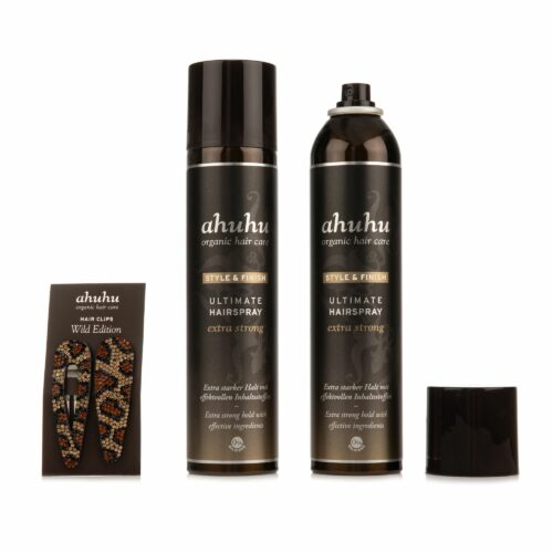 ahuhu organic hair care Hairspray strong hold & shine 2x 300ml inkl. 2x Haarclips