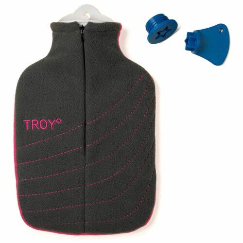 TROY Wärmflasche 2l mit Premium Bezug und Sicherheits- verschluss