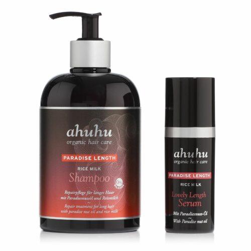 ahuhu organic hair care Rice Milk Shampoo 500ml & Lovely Length Serum 30ml