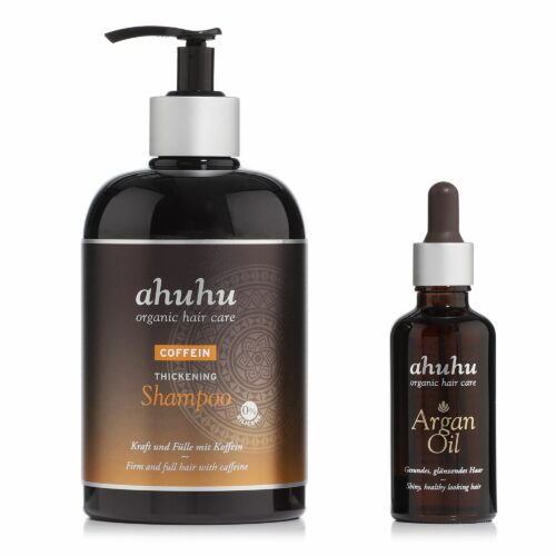 ahuhu organic hair care Coffein Shampoo 500ml & Argan Öl 50ml Sondergröße