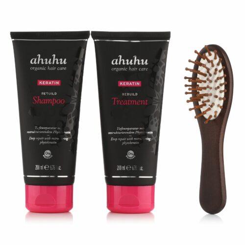 ahuhu organic hair care Keratin Shampoo 200ml & Treatment 200ml inkl. Travel Brush