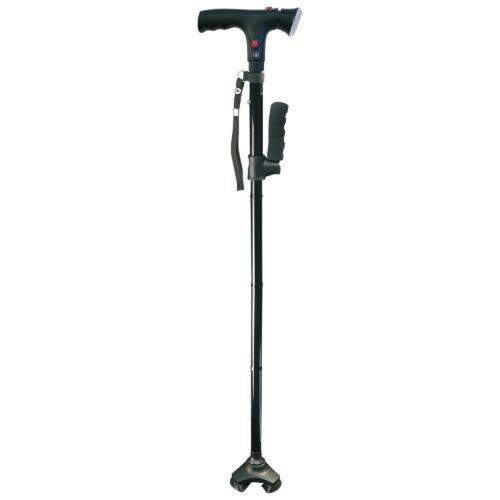 CLEVER CANE Gehstock mit Lampe, Alarmsignal, faltbar, höhenverstellbar, bis 105kg belastbar
