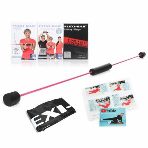 FLEXI-SPORTS Flexi-Bar Sonderedition in Pink mit 2 DVDs, Tasche & Trainingsplan